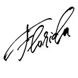 florida Moderne Kalligraphie-Handbeschriftung für Siebdruck-Druck Lizenzfreie Stockfotos