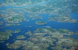 Florida nature coast. Aerial view of boaters along Florida's nature coast stock photos