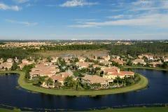Florida Neighborhood Flyover Stock Photography