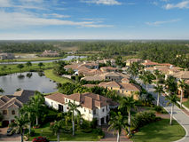 Florida Neighborhood Flyover. Aerial photograph of a Florida neighborhood Royalty Free Stock Photography