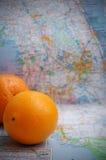 Florida Oranges. Oranges atop a map of Florida stock photos