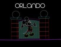 Florida, Orlando; Am 9. August 2018 Mickey Mouse auf buntem Neonhintergrund Ferien-Karte stock abbildung