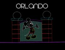 Florida Orlando; Augusti 9, 2018 Mickey Mouse på färgrik bakgrund för neon Semesterkort stock illustrationer