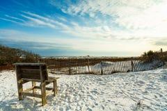 Florida panhandle beach. Beautiful white powder sand beach in the Florida panhandle in the late afternoon royalty free stock photos