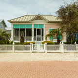 Florida Panhandle Home. Seaside, FL USA - March 29, 2016: Beautiful vacation home in the North Florida panhandle coastal community stock photo