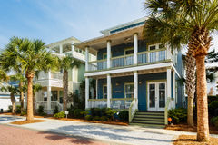 Florida Panhandle Homes. Seacrest Beach, FL USA - March 29, 2016: Beautiful vacation homes in the North Florida panhandle coastal community stock images