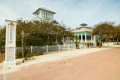 Florida Panhandle Homes. Seaside, FL USA - March 29, 2016: Beautiful vacation homes in the North Florida panhandle coastal community stock photos