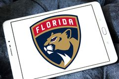 Florida Panthers ice hockey team logo. Logo of Florida Panthers ice hockey team on samsung tablet. The Colorado Avalanche are a professional ice hockey team royalty free stock photo