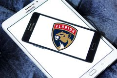 Florida Panthers ice hockey team logo. Logo of Florida Panthers ice hockey team on samsung mobile. The Colorado Avalanche are a professional ice hockey team Stock Photo