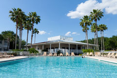 Florida paradise. Swimming pool in Central Florida, with symmetrically located palm trees in the background Royalty Free Stock Photos