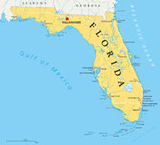 Florida political map. With capital Tallahassee, borders, important places, rivers and lakes. State, located in the southeastern region of the United States Stock Photos