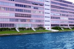 Florida Pompano Beach pink building in waterway Royalty Free Stock Photos