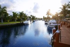 Florida Pompano Beach waterway in evening. Sunset Stock Photos