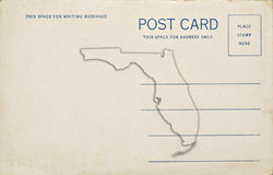 Florida Postcard. A postcard with a Florida map outline. Dirt and scratches at 100 Royalty Free Stock Photography