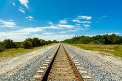 Florida railroad tracks. Long railroad track in Port Saint Lucie in Florida Stock Photography