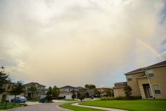 Florida rainbow and cloud. Florida house, rainbow and cloud Royalty Free Stock Photo