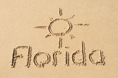 Florida in the Sand. A picture of the sun and the word Florida drawn in the sand Stock Image