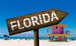 Florida sign on the beach.  Stock Photo