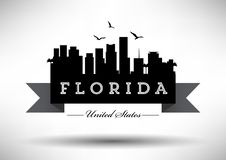 Florida Skyline with Typography Design royalty free illustration