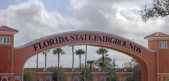 Florida State Fairgrounds. The main entrance archway of the Florida State Fairgrounds. It is an annual State Fair in Tampa. It includes,rides,attractions Stock Photos