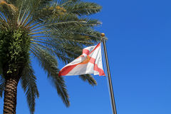 Florida state flag. High on flag pole against clear blue south Florida skies Royalty Free Stock Photo