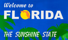 Florida state line. Welcome to Florida road sign Royalty Free Stock Photo