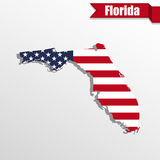 Florida State map with US flag inside and ribbon Royalty Free Stock Photography