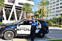 Florida state miami beach usa police officer smile Royalty Free Stock Image