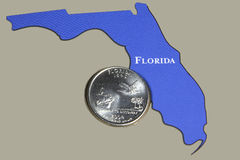 Florida State Quarter. In outline of state Royalty Free Stock Image
