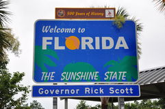 Florida state sign. Rest area welcome sunshine history travel America destination scenic Stock Photos