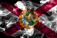 Florida state smoke flag, United States Of America. On a black background royalty free stock photos
