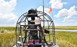 Florida state usa everglades  gator  park  airboat engine. There are propeller and all elements of engine of airboat , which is the main transportation  in Stock Images