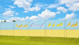 Florida state usa sound wall roadside. There are different design of soundwall in different states of USA. It`s example from  Florida  state , which is very Royalty Free Stock Images