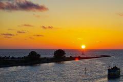 Florida sun set and island Royalty Free Stock Photography