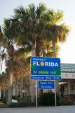 Florida Sunshine State sign. Welcome to Florida Sunshine State sign at welcome station of rest area Stock Photos