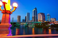Florida Tampa skyline at sunset in US Royalty Free Stock Photo