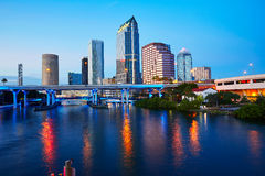 Florida Tampa skyline at sunset in US Royalty Free Stock Photos