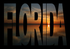 Florida text with sunset Royalty Free Stock Photos