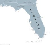 Florida United States political map. Florida political map with capital Tallahassee. State in the southeastern region of the United States, bordered by the Gulf Royalty Free Stock Photos