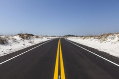Florida White Sand Beach Road. White sand beach road at Gulf Island National Seashore near Pensacola, Florida Stock Images