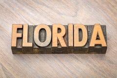 Florida-Wortzusammenfassung in der hölzernen Art Lizenzfreies Stockfoto