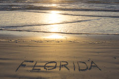 Florida written on sandy beach Royalty Free Stock Photo