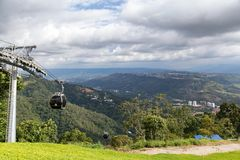 Bucaramanga cable cars. FLORIDABLANCA, COLOMBIA - MAY 3: View of Floridablanca with cable cars in the foreground in Floridablanca, Colombia on May 3, 2016 Stock Photo