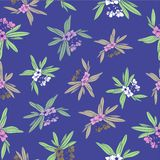 Floridian Floral Print Tropical Pattern Background Vector in Blue Mauve vector illustration