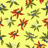 Floridian Floral Print Tropical Pattern Background Vector in Yellow stock illustration