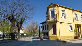 Florina, Greece. Traditional neoclassical house by Sakoulevas river. Florina houses by the riverside royalty free stock photo