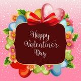 Florish valentine snow card. With love balloon vector illustration