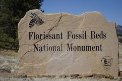 Florissant Fossil Beds National Park Monument Sign to entrance. The Florissant Fossil Beds National Monument is a national monument located in Teller County Stock Photography