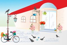 Florist in the alley Royalty Free Stock Photography
