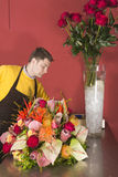 Florist arranging fresh flowers Royalty Free Stock Image